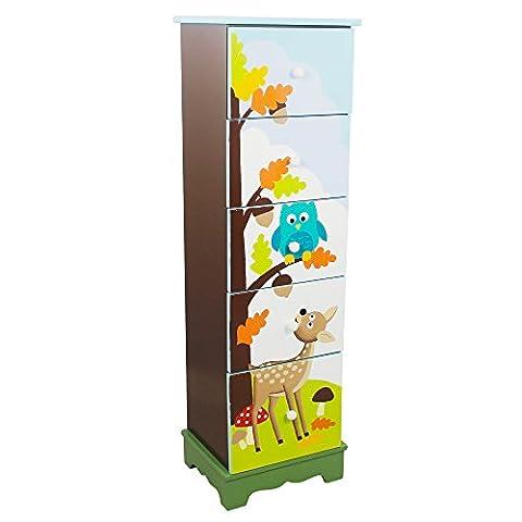 Fantasy Fields by Teamson Enchanted Woodland Childrens Bedroom Nursery Storage 5 Drawer Cabinet TD-0070A