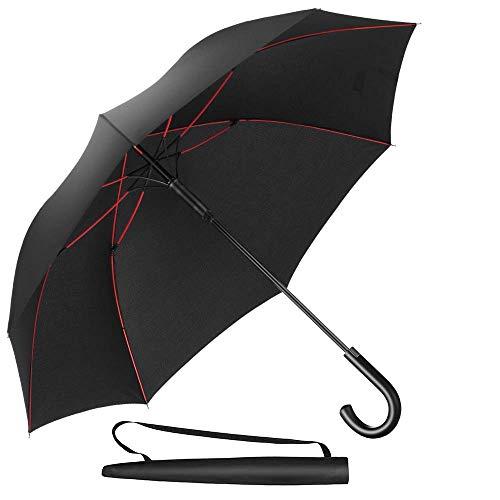 Newdora Stockschirm Regenschirm Windproof Manuelles Schließen Schwarz Fiberglas Rippen Golf Umbrella Lightweight Extra Large 210T Wasserdichter Taschenschirm Herren Damen mit rutschsicherem Griff