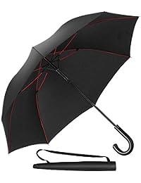 Newdora Parapluie Canne, Parapluie Automatique Coupe-Vent Incassable, Parapluie de Golf Noir 8 Baleines 211T Voyage Ecole Voiture