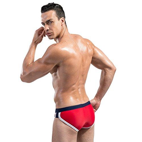 Lantra Besa Uomo Nuoto Surfing Underwear Slip Swimmwear Bikini Pantaloni con Coulisse in Nylon e Spandex Tipo 7 (Asiatica M-XXL, Italiano S-XL) Rosso