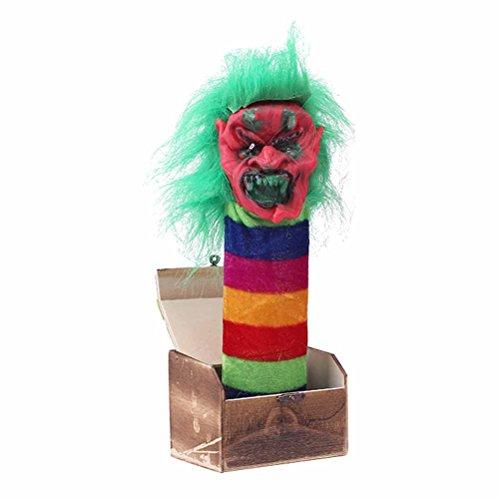 BESTOYARD Halloween Streich Spielzeug Holz Scary Box Funy Horror Trick Elektrische Stimme aktiviert Witz Spielzeug (Green Monster) (Jack Box)