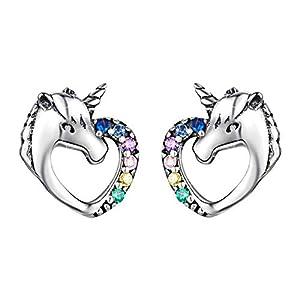 Ohrringe Silber Einhorn Ohrringe 925 Mädchen Ohrstecker Einhorn Herz mit Brillant Zirkonia Piercing Ohr Medizinische Ohrstecker Nickelfrei Ohrringe