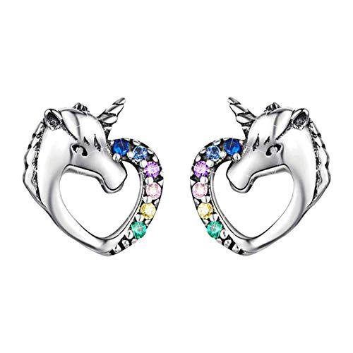 INTVN Unicornio Pendientes Niña Plata de ley 925 con Circonita Pequeños Arete Piercings Rectos Oreja Hipoalergenicos