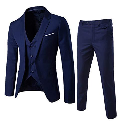 Guiran Herren Anzug Regular Fit Business Anzüge 3-Teilig Anzugjacke + Anzughose + Weste Marine M