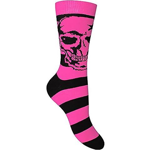 Femme-Tête de mort-Everyday-Stripy & chaussettes - Rose - M