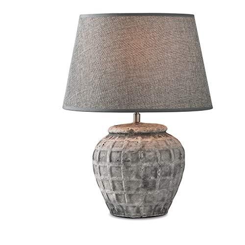 Loberon Tischlampe Mehdi, Keramik, Eisen, Leinen, H/Ø 42/20 cm, grau, E27, max. 60 Watt, A++ bis E