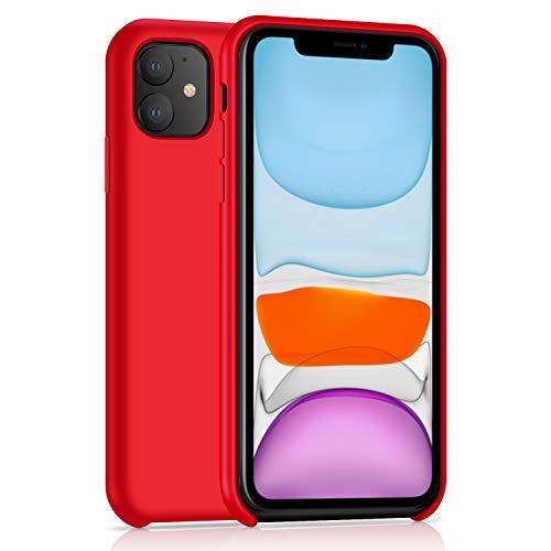 AhaSky Hülle für iPhone 11 Liquid Silikon HandyHülle, Cover Case Schutzhülle Kratzfeste mit Stoßfeste Hülle mit Weichem Mikrofasertuchkissen für 6.1 Zoll iPhone 11 -Rot