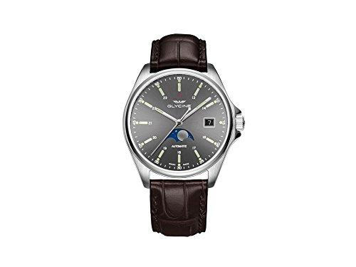 Glycine Combat Classic fasi lunari orologio automatico, GL 280, grigio, GL0114
