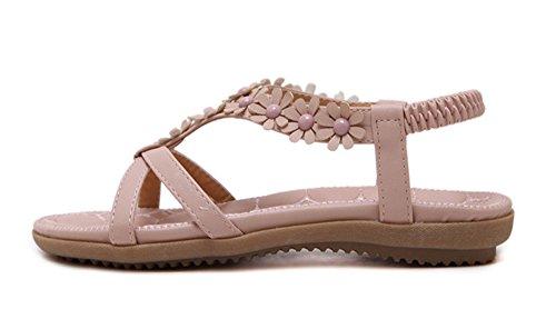 Minetom Donna Estate Moda Tacco Piatto Sandali Scarpe Open Toe Ragazza Simple Boemia Fiore Spiaggia Sandals Rosa