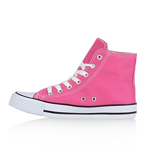 Damen Sneakers Kult Sportschuhe Stoffschuhe Schnürer Pink Weiss