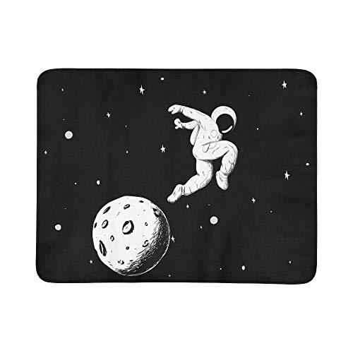 SHAOKAO Astronauten Fotografieren auf dem Mondsichel-Muster Tragbare und Faltbare Kuschel-Matte 60x78 Zoll Handliche Matte für Camping Picknick Strand Indoor Outdoor-Reisen