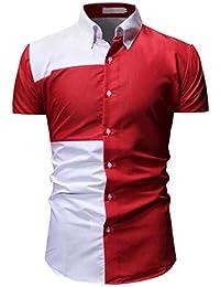 ZODOF Camisa a Cuadros Grande para Hombre Camiseta de Verano Camisa Delgada de Manga Corta Ocasional
