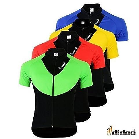 Didoo New Men's Short Sleeve Cycling Shirts Team Bike Jerseys Race Clothing Tops Red XL