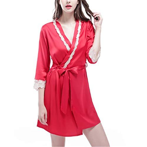 Seide Satin Kimono Kleid Kimono Bademantel Damen Lange Robe Girl Party,Strickjacke Kleid Dünnschliff Simulation Seide rot XL (Der Dude Baby Kostüm)