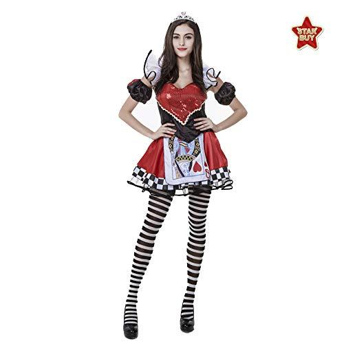 Poker Kostüm Dealer - Casino Red Heart Poker Königin Cosplay Kostüm Nacht Feld Kleidung Für Halloween Female Wear,Red-M