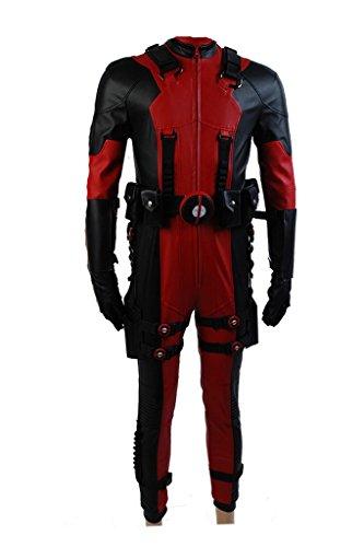 Fuman Deadpool Ganzkoeper Lycra Spandex Zentai Anzug Strampler Halloween Kostüm Rot M