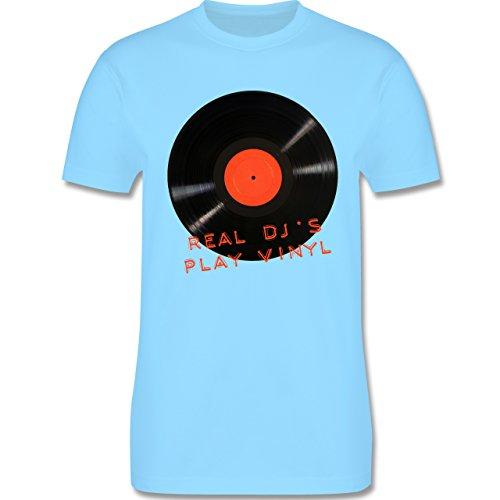 Techno & House - Real DJ's play Vinyl - Herren Premium T-Shirt Hellblau