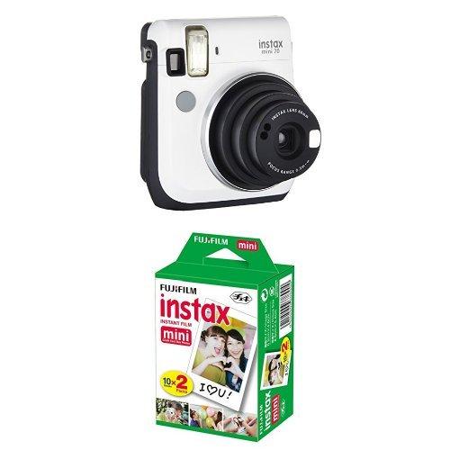 Fujifilm Instax Mini 70 Appareil photo instantané Blanc + Fujifilm - Twin Films pour Instax Mini - 86 x 54 mm - Pack 2 x 10 Films (Nstax Film)