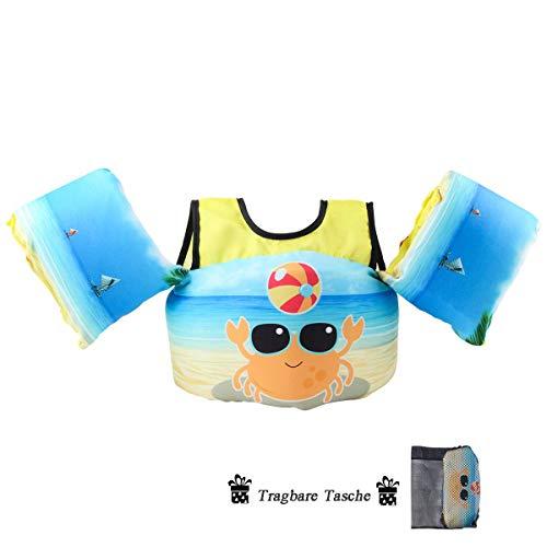 kacai Schwimmflügel Kinder Schwimm Schaum für Kinder und Kleinkinder von 2-6 Jahre 15-30kg (Krabbe)