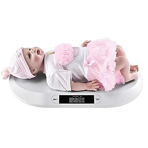 [pro.tec] Babywaage Digital bis 20kg Säuglingswaage Rutschfester Stand Kinderwaage Stillwaage Digitalwaage LED Display Batterie Weiß