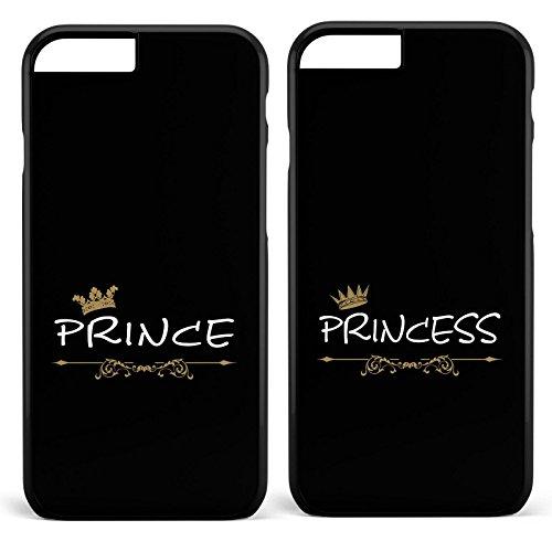 *Prince & Princess / Pärchen Doppelhülle * Apple iPhone 5 6 7 Galaxy S5 S6 S7, Handymodell:Apple iPhone 6 / 6S, Farbe & Namen:Schwarze Hülle / Schwarzes Motiv*