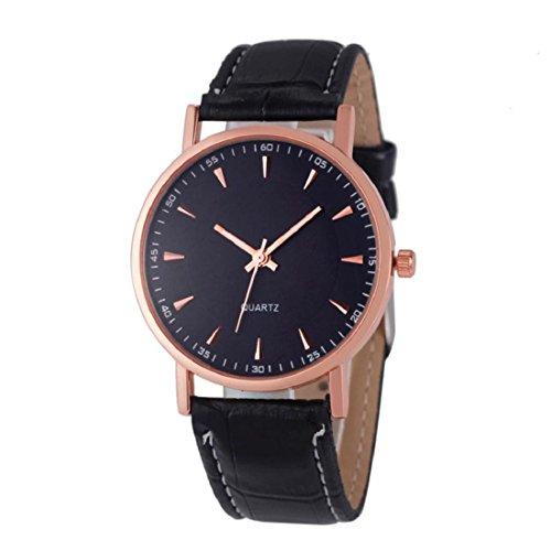 Tongshi Moda Unisex Ocio piel de cocodrilo analógico de pulsera de cuarzo Relojes (negro)