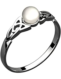 Sterling Silver Celtic Trinity Knot Ring, 7mm Synthetic Pearl