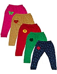 T2F Girls' Printed Leggings (Pack Of 5, Black-Red-Green-Rose-Yellow)