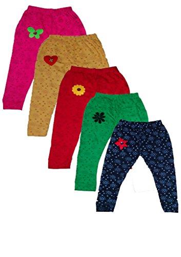 T2F Girls' Leggings (Pack Of 5) (T2FKLEGC01_Multi_5-6 YRS)