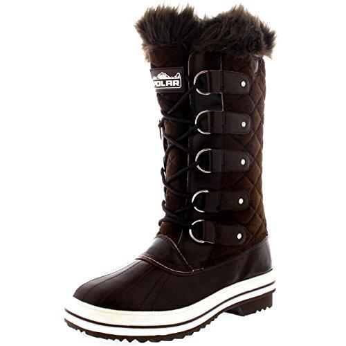 Polar Damen Schnee Stiefel Nylon Tall Wasserdicht Gefüttert Regen Stiefel - Braun Wildleder - BRS38 AYC0005 (Tall Stiefel Wildleder)