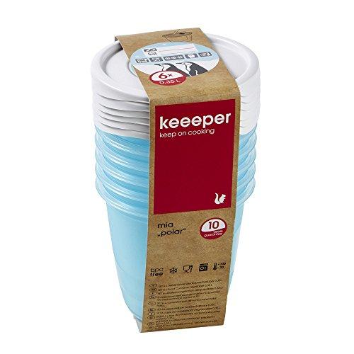 keeeper Tiefkühldosenset 6-teilig, Wiederbeschreibbarer Deckel, 6 x 350 ml, Ø 9,5 x 9 cm, Mia Polar, Eisblau Transparent