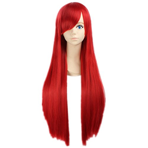 tueme Peruecke Fairy Tail Erza Scarlet gerade lang Rot Anime Haar (Erza Scarlet Kostüm)