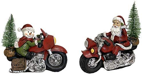 Gerson Weihnachtsmann und Schneemann Motorrad-Figuren, 2 Stück