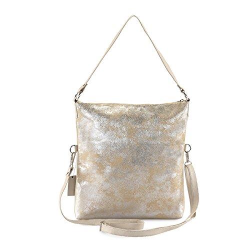 HYDESTYLE  Lb31, Damen Rucksackhandtasche Metallic Beige