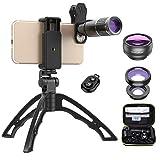 Apexel 4 in 1 Phone Camera Lens Kit 16X Telephoto Telescope Zoom lens