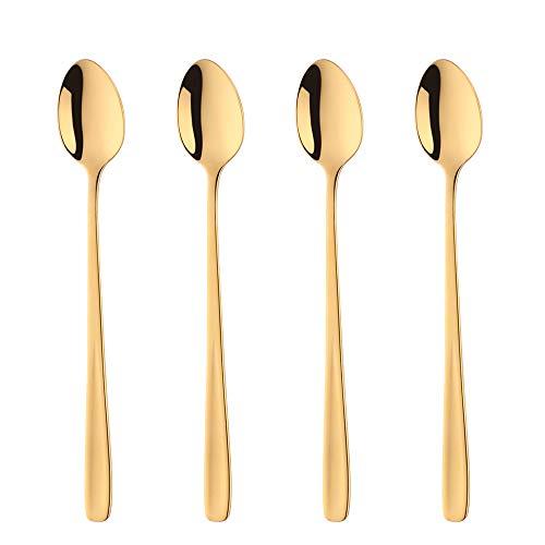Gold Eis (18/10 Edelstahl Latte Löffel Gold Eis Teelöffel, Bisda 4 Stück lange Griff Eisbecher Löffel für heiße Schokolade heißes Getränk, Spülmaschine sicher)