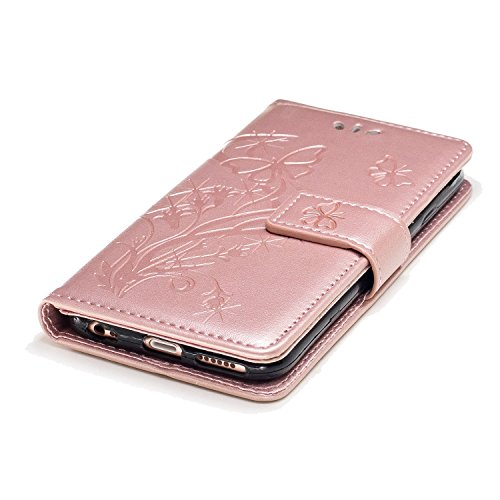 Etsue iPhone 6S Cover,iPhone 6 Custodia in Pelle Portafoglio Lusso Style Carina Lovely Orso Modello Artificiale Leather Pu Puro Wallet/Libro/Flip Antigraffio Bumper Protettiva Case Cover Morbida Fless rose oro/Goffratura