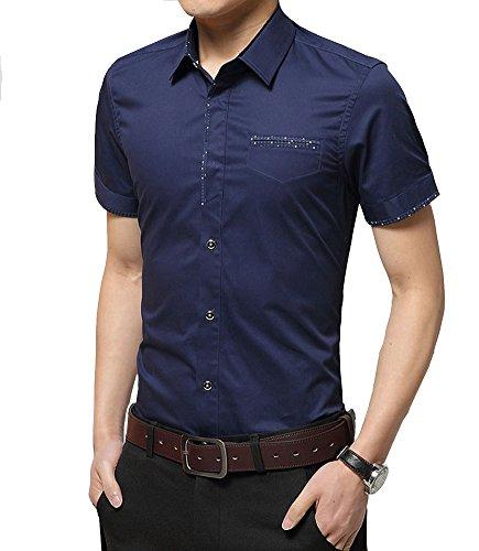 Classica Camicia Manica Corta Moda Shirt Slim Fit Casual Camicia per ufficio - Uomo Taglia M/L/XL/XXL/3XL Blu scuro