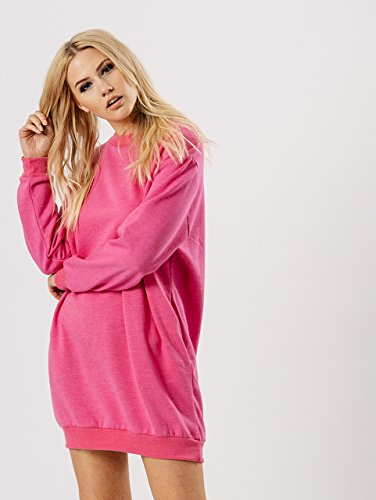 Ladies Oversize Long Pull Sweatshirt Tunique Robe EUR Taille 36-42 Rose