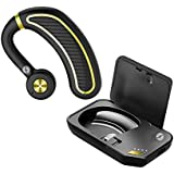 Xmate Edge Wireless Earphone Bluetooth Headset with Adjustable Mic Bluetooth V5.0 Hands-Free Calls with Charging case for All Smartphones (Black/Gold)