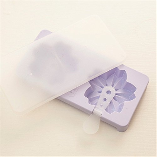 yiliay Cute Design Eis Formen Küche Ice Pop Maker DIY Popsicle Schimmel Cherry Blossoms/Purple
