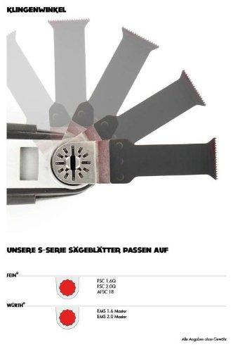 5 E-Cut Sägeblätter SSI 042 Standard 42 mm. ++ preisgünstige Markenqualität ++ Mit symmetrischer Spitzverzahnung und Sternaufnahme. Das Profi-Zubehör für Ihr oszillierendes Multifunktionswerkzeug passend für Fein Supercut und Würth EMS. Das Original seit 1997 vom Schweizer Erfinder. Produzierte bisher für den Weltmarktführer. +++ extrem scharf ++ hohe Standzeiten +++