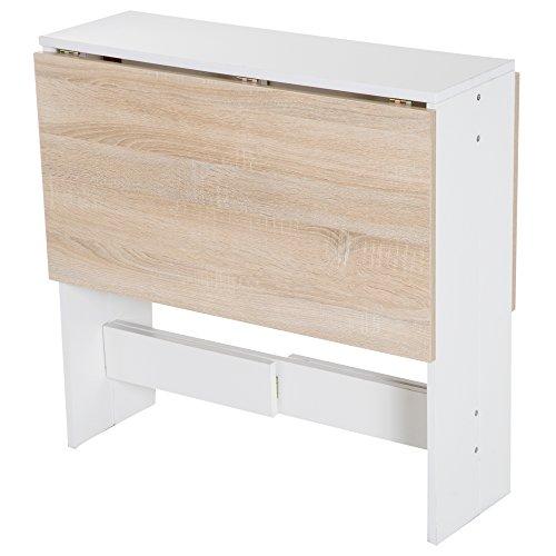HOMCOM Klapptisch Schreibtisch Arbeitsstation Beistelltisch Esstisch Spanplatte Eiche, Weiß L103 x B76 x H73,5 cm -