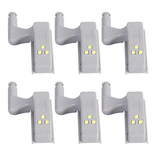 XHD-LED Cabinet Lumières Armoire Placard Porte Intérieure Charnière LED Night Light Capteur Ampoules (6pcs)