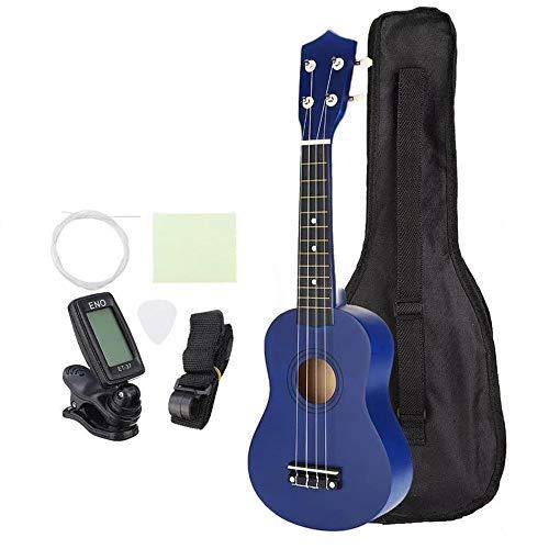 Chitarra Blu 21 Pollici Soprano Economico Ukulele Uke Piccolo Hawaii Chitarra Strumento Musicale con Gig Bag Strings sintonizzatore for Principianti per Bambini Adulti Principianti Principianti