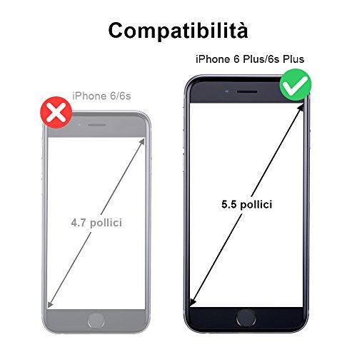 OCASE Cover iPhone 6S Plus [pellicola vetro temperato schermo inclusa][Portafoglio] Custodia di Pelle Case Flip Magnetico Rimovibile per iPhone 6 Plus, Nero. ATTENZIONE: Si prega di assicurarsi che qu Marrone