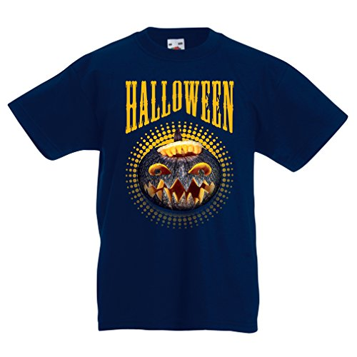 Kinder T-Shirt Halloween Kürbis - Party Kostüm Ideen 2017 (7-8 years Dunkelblau Mehrfarben)