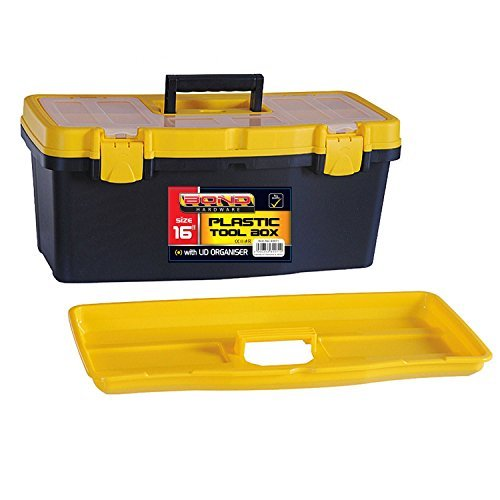 16 Plastic Tool Box with Handle, Removable Tray & Compartment Storage by Bond Hardware -