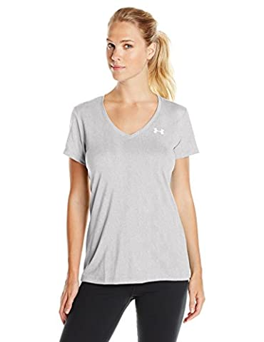 Under Armour 2015 Womens UA Tech Solid V-Neck T Shirt - Warm Gray Heather - L