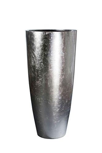 VIVANNO Pflanzkübel Pflanzgefäß Blumenkübel exklusiv Fiberglas Silber City - 80 x 37 cm